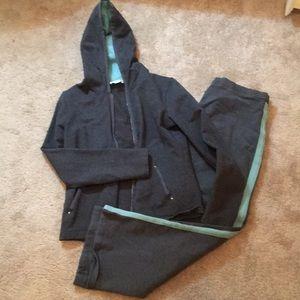 LOFT Petite jogging suit in grey and aqua